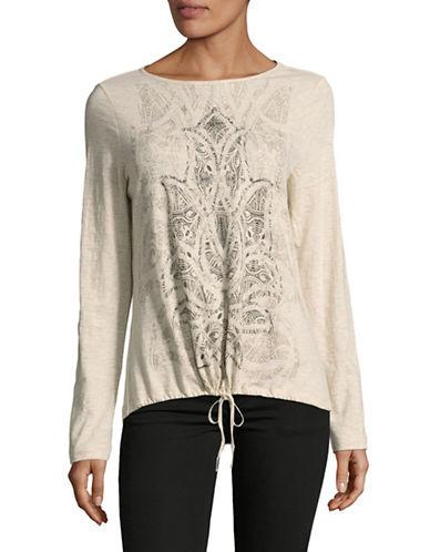 Olsen Tie-Front T-Shirt-BEIGE-EUR 44/US 14