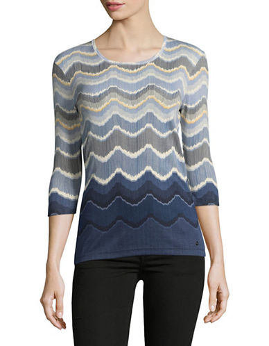 Olsen Three-Quarter Sleeve Cotton Tee-BLUE-EUR 38/US 8