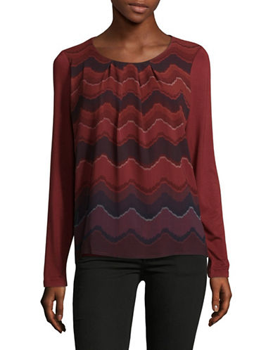 Olsen Ruched Long Sleeve Tee-RED-EUR 38/US 8