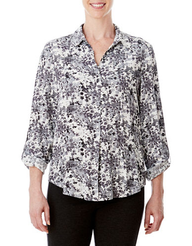 Olsen Dandelion Roll-Up Sleeve Top-GREY-EUR 44/US 14