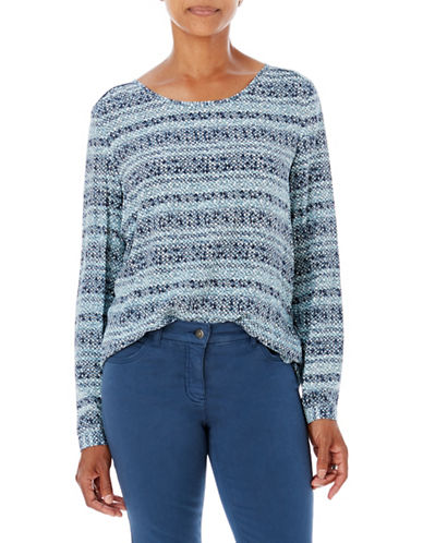 Olsen Over-The-Head Long Sleeve Blouse-BLUE-EUR 36/US 6