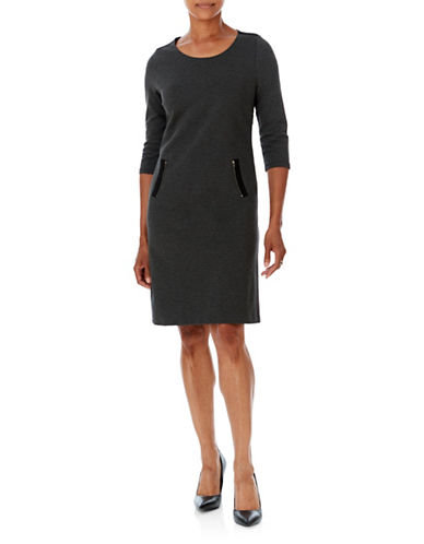 Olsen Ponti Zip Detail Knee-Length Dress-BLACK-EUR 36/US 6
