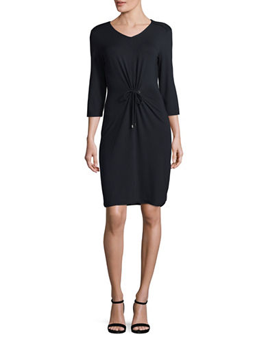 Olsen Three-Quarter Sleeve Sheath Dress-BLUE-EUR 40/US 10