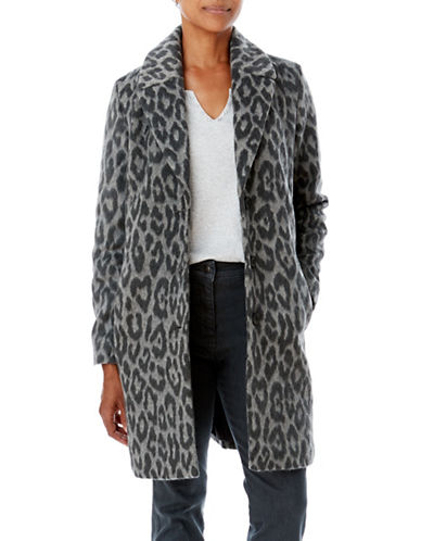 Olsen Animal Print Coat-GREY-EUR 44/US 14