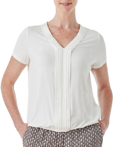 Olsen Soft Delight Tuck Front Top-WHITE-EUR 36/US 6
