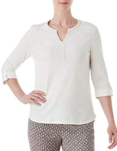 Olsen Soft Delight Embroidered Top-WHITE-EUR 42/US 12