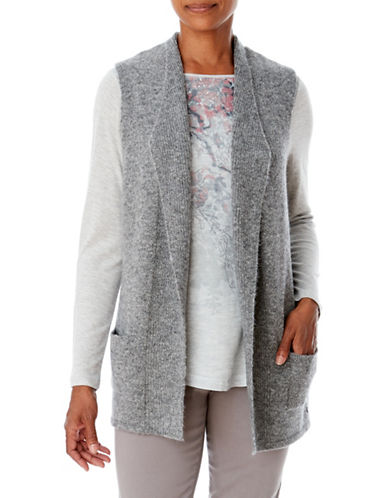 Olsen Boucle Open Front Vest-GREY-EUR 34/US 4