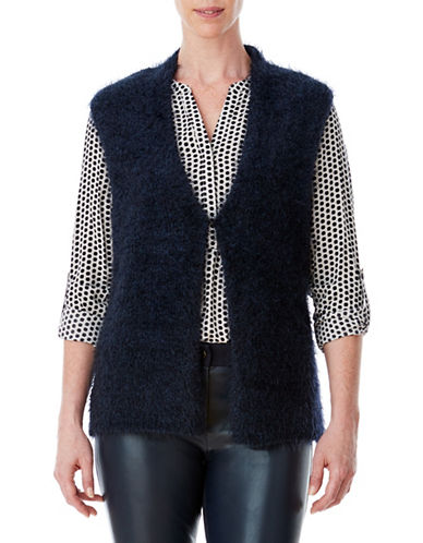 Olsen Teddy Wool-Blend Yarn Vest-BLUE-EUR 40/US 10