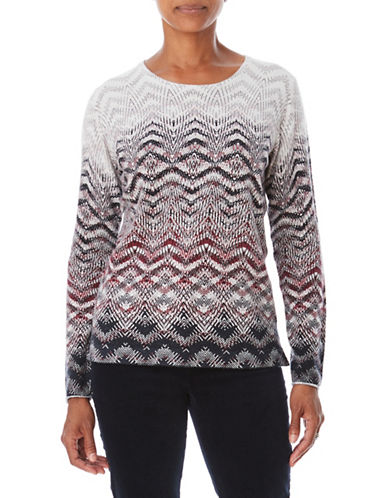 Olsen Printed Wool-Blend Sweater-RED-EUR 36/US 6