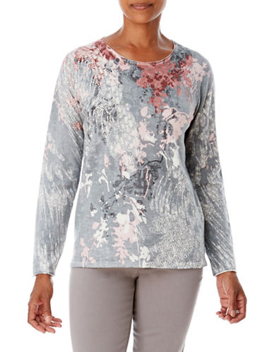 Olsen Printed Long Sleeve Sweater-SILVER-EUR 36/US 6