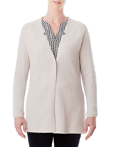 Olsen Wool-Blend Inverted Notch Cardigan-BEIGE-EUR 38/US 8