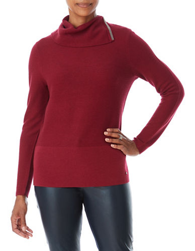 Olsen Split-Neck Tunic-RED-EUR 40/US 10