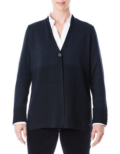 Olsen One-Button Cardigan-BLUE-EUR 42/US 12