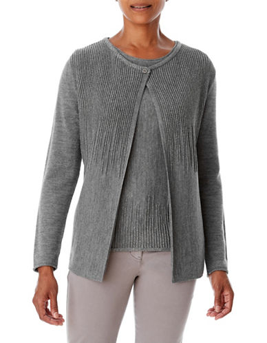 Olsen One-Button Cardigan-GREY-EUR 46/US 16