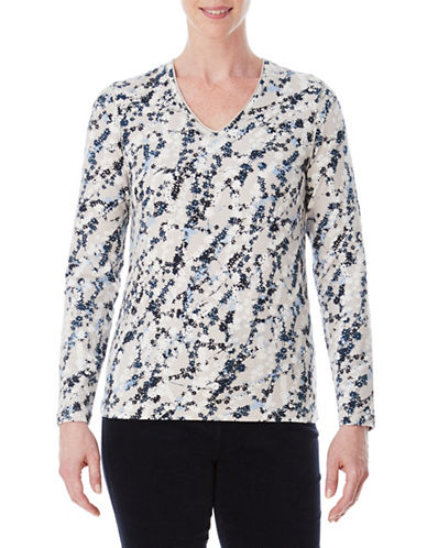 Olsen All-Over Floral V-Neck Top-BEIGE-EUR 36/US 6