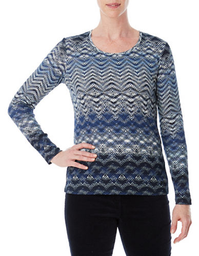 Olsen Cotton Long-Sleeve Tee-BLUE-EUR 42/US 12