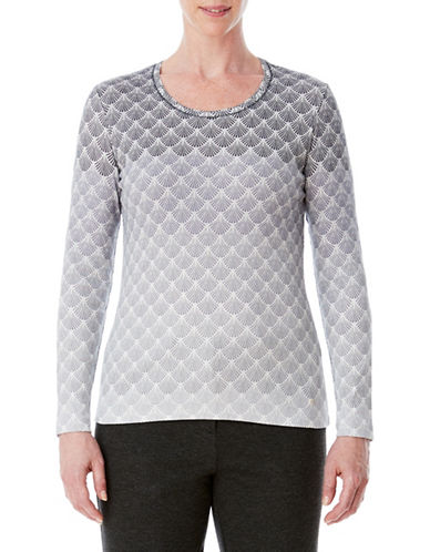 Olsen Fan Printed Cotton Tee-GREY-EUR 44/US 14