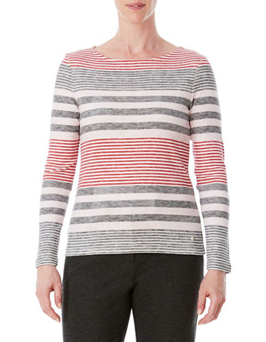 Olsen Stripe Cotton Tee-PINK-EUR 42/US 12
