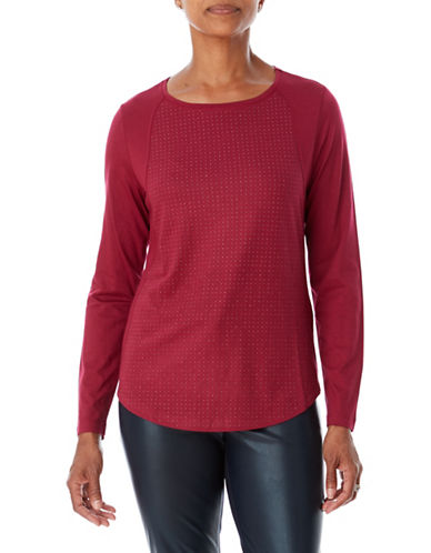 Olsen Chic Long-Sleeve Tee-RED-EUR 38/US 8