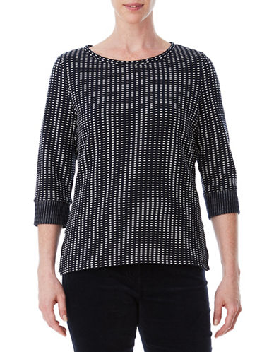 Olsen Jacquard Top-BLUE-EUR 40/US 10