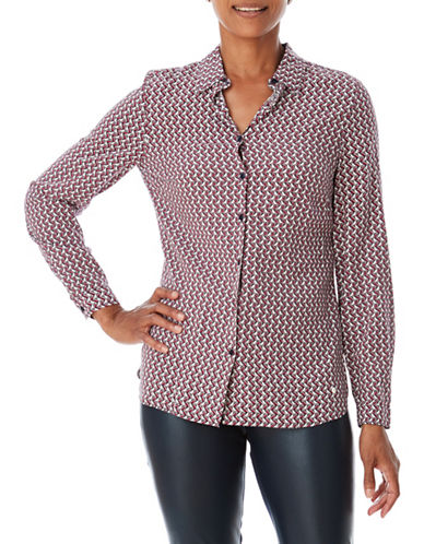 Olsen Printed Button-Down Shirt-RED-EUR 38/US 8