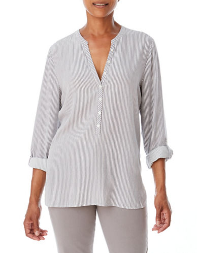Olsen Stripe Long Sleeve Blouse-GREY-EUR 42/US 12