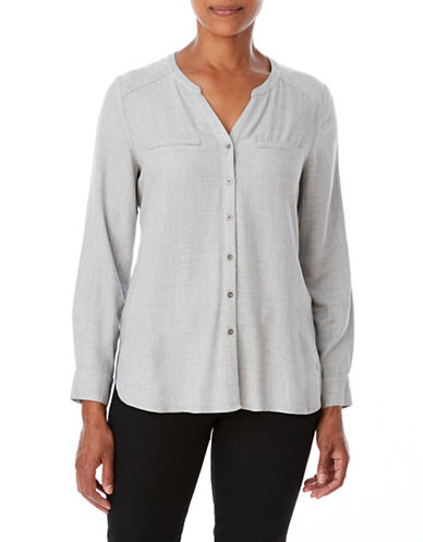Olsen Split Neck Button-Down Shirt-SILVER-EUR 40/US 10