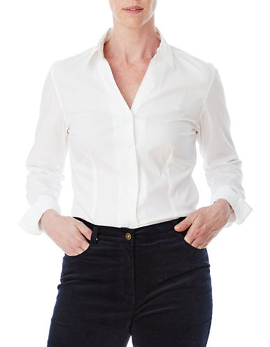 Olsen Modest Button-Down Shirt-WHITE-EUR 46/US 16