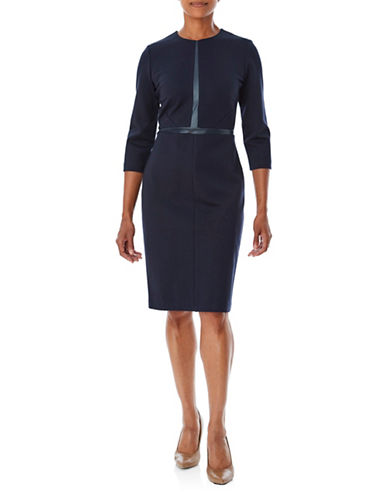 Olsen Chic Trim Dress-BLUE-EUR 36/US 6