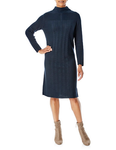 Olsen Cable Knit Dress-BLUE-EUR 34/US 4
