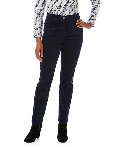 Olsen Mona Slim Velvet Pants-BLUE-EUR 34/US 4