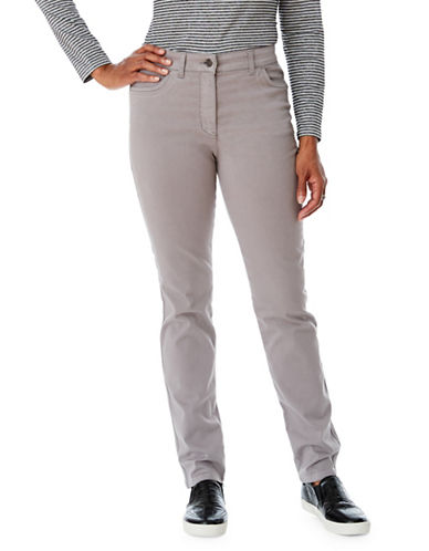 Olsen Mona Slim Power Stretch Pants-GREY-EUR 46/US 16