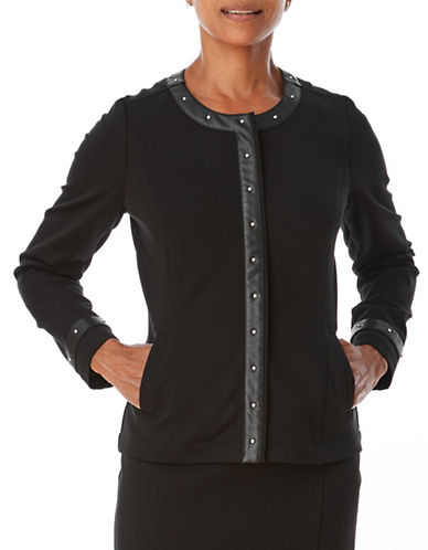 Olsen Full-Zip Ponte Jacket-BLACK-EUR 36/US 6
