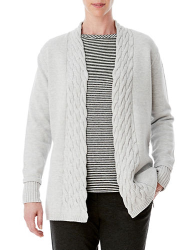 Olsen Cable Knit Cardigan-GREY-EUR 34/US 4