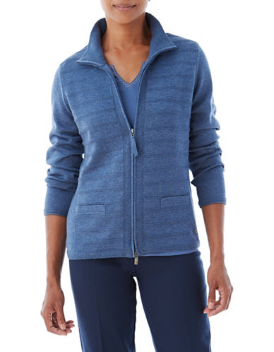 Olsen Ribbed Zip-Up Cardigan-BLUE-EUR 38/US 8
