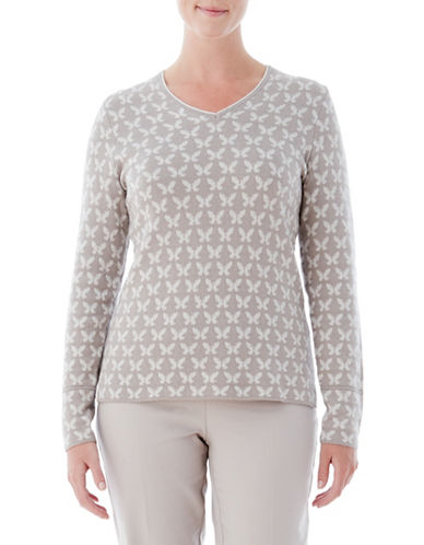 Olsen V-Neck Butterfly Sweater-BEIGE-EUR 44/US 14