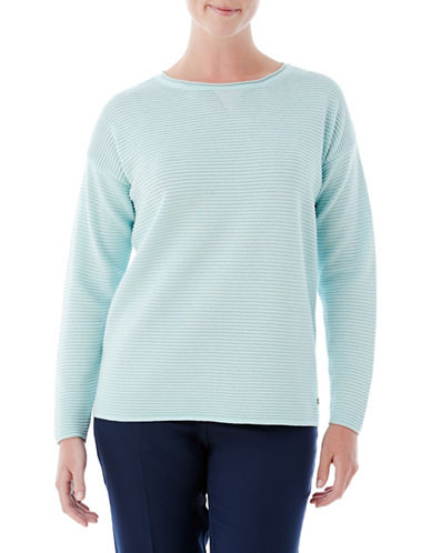 Olsen Ottoman Ribbed Sweater-BLUE-EUR 40/US 10