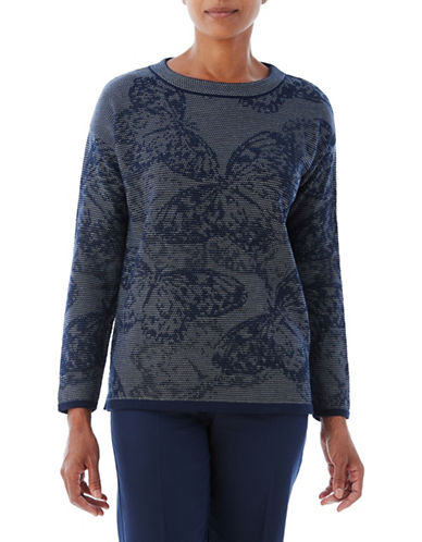 Olsen Jacquard Butterfly Sweater-NAVY-EUR 46/US 16