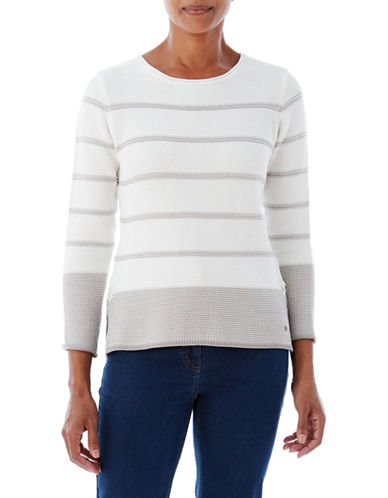 Olsen Stripe Sweater-WHITE-EUR 46/US 16