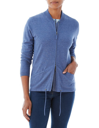 Olsen Zip Drawstring Cardigan-BLUE-EUR 38/US 8