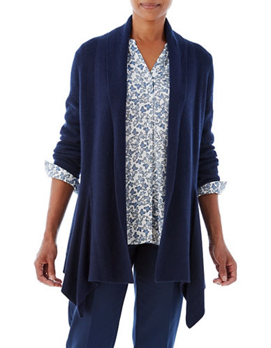Olsen Drape Wool-Blend Cardigan-NAVY-EUR 44/US 14