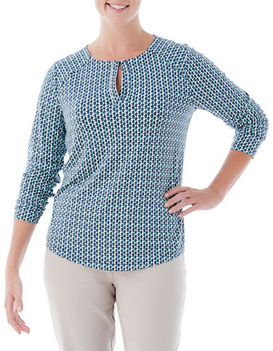 Olsen Three-Quarter-Sleeve Tee-BLUE-EUR 42/US 12