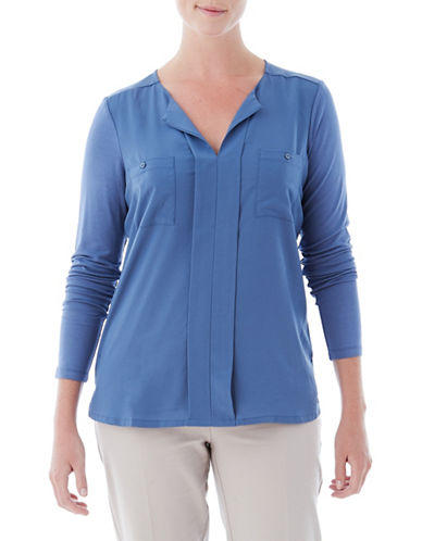 Olsen Long-Sleeve Pocket Top-BLUE-EUR 44/US 14