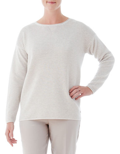 Olsen Ottoman Ribbed Sweater-NATURAL-EUR 46/US 16