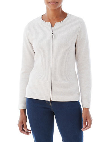 Olsen Double Zip Cardigan-WHITE-EUR 44/US 14