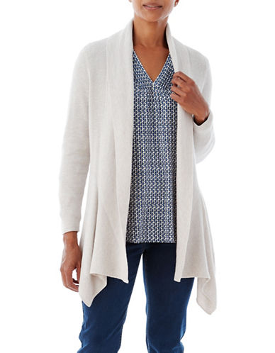 Olsen Drape Wool-Blend Cardigan-NATURAL-EUR 44/US 14