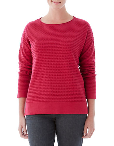 Olsen Stitch Interest Round Sweater-PINK-EUR 36/US 6