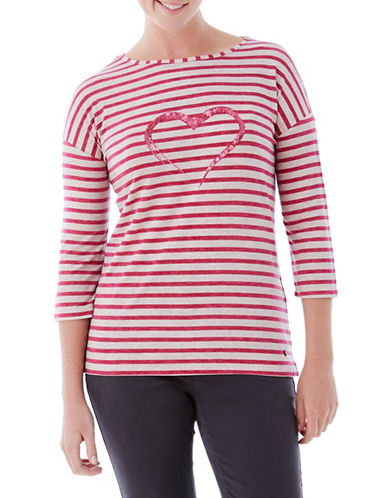 Olsen Sequin Heart Stripe Tee-PINK-EUR 44/US 14