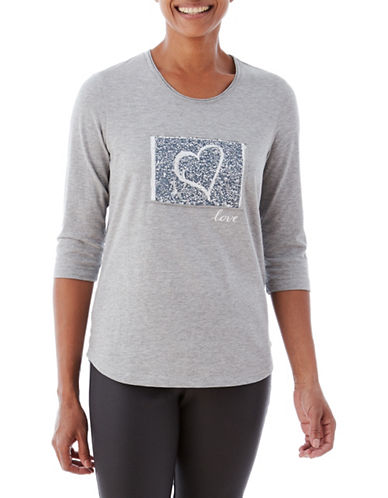 Olsen Patched Heart Tee-GREY-EUR 40/US 10