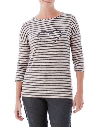 Olsen Sequin Heart Stripe Tee-GREY-EUR 40/US 10
